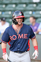 Second baseman Greg Cullen (18) of the Rome Braves in a game against the Greenville Drive on Friday, June 28, 2019, at Fluor Field at the West End in Greenville, South Carolina. Rome won, 4-3. (Tom Priddy/Four Seam Images)