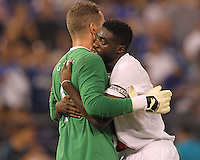 Kolo Toure #28 hugs Shay Given #1 of Manchester City during an international friendly match against Inter Milan on July 31 2010 at M&T Bank Stadium in Baltimore, Maryland. Milan won 3-0.