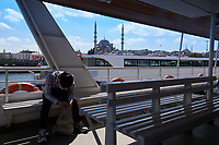 Seabus or ferry in Istanbul between Karakoy, Eminonu and Uskudar districts