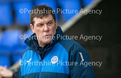 St Johnstone v Motherwell…20.02.16   SPFL   McDiarmid Park, Perth<br />Tommy Wright looks on<br />Picture by Graeme Hart.<br />Copyright Perthshire Picture Agency<br />Tel: 01738 623350  Mobile: 07990 594431