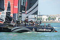 SoftBank Team Japan, JULY 23, 2016 - Sailing: SoftBank Team Japan prepares to tack in light winds during day one of the Louis Vuitton America's Cup World Series racing, Portsmouth, United Kingdom. (Photo by Rob Munro/Stewart Communications)