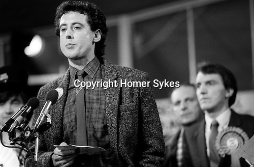 Peter Tatchell election night,  (Labour party) he lost to Simon Hughes ( seen in background Liberal party  ) south London 1983. UK...Bermondsey by-election