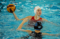 20200126 - GENT, BELGIUM : Gentse's (13) Leen Baudonck pictured during the waterpolo game Gentse KGZV and Eeklo MVZ , waterpolo game between Gentse KGZV and Eelko MVZ , at swimming pool Strop in Gent , saturday 1 th February 2020 . PHOTO SPORTPIX.BE | STIJN AUDOOREN