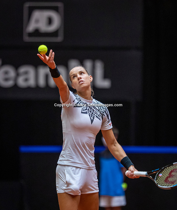 Den Bosch, The Netherlands, April 16, 2021,    Maaspoort, Billy Jean King Cup  Netherlands -  China , seccond Match:  Arantxa Rus (NED) <br /> Photo: Tennisimages/Henk Koster