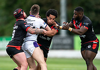 Josh Walters of London Broncos, Matty Fozard of London Broncos and Titus Gwaze of London Broncos during the Betfred Championship match between London Broncos and Newcastle Thunder at The Rock, Rosslyn Park, London, England on 9 May 2021. Photo by Liam McAvoy.