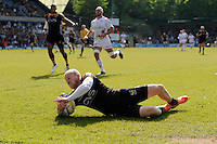 Joe Simpson of London Wasps runs in a try during the first leg of the European Rugby Champions Cup play-off match between London Wasps and Stade Francais at Adams Park on Sunday 18th May 2014 (Photo by Rob Munro)