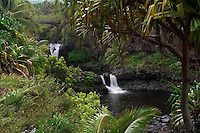Beautiful scenic view of the seven pools and waterfalls in Ohe'o Gulch in HALEAKALA NATIONAL PARK on Maui in Hawaii USA