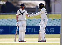 Jordan Cox (L) and Daniel Bell-Drummond of Kent during Kent CCC vs Lancashire CCC, LV Insurance County Championship Group 3 Cricket at The Spitfire Ground on 24th April 2021