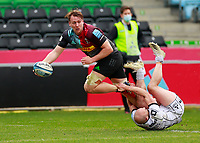 20th March 2021; Twickenham Stoop, London, England; English Premiership Rugby, Harlequins versus Gloucester; Harlequins, Gloucester; Alex Dombrandt of Harlequins almost breaks through and nearly scoring but having to off load due to the tackle