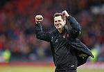 Dundee Utd manager Jackie McNamara celebrates at the end