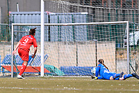 Kenza Vrithof (9) of Woluwe  pictured scoring the opening goal during a female soccer game between FC Femina White Star Woluwe and SV Zulte Waregem on the fifth matchday of play off 2 in the 2020 - 2021 season of Belgian Scooore Womens Super League , Saturday 8 th of May 2021  in Woluwe , Belgium . PHOTO SPORTPIX.BE | SPP | DAVID CATRY