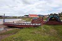 Maori Canoes, Ohinemutu Maori Village, Rotorua, north island, New Zealand.