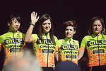 Mayuko Hagiwara (JPN), Soraya Paladin (ITA), Ane Santesteban (ESP) and Roxane  Knetemann (NED) Ale Cipollini at the Team presentation of La Fleche Wallonne Femmes 2018 running 118.5km from Huy to Huy, Belgium. 17/04/2018.<br /> Picture: ASO/Thomas Maheux | Cyclefile.<br /> <br /> All photos usage must carry mandatory copyright credit (© Cyclefile | ASO/Thomas Maheux)