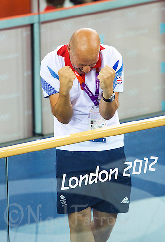 03 AUG 2012 - LONDON, GBR - Great Britain Performance Director Dave Brailsford (GBR) celebrates Victoria Pendleton winning the Women's Keirin final at the London 2012 Olympic Games at the Olympic Park Velodrome in Stratford, London, Great Britain .(PHOTO (C) 2012 NIGEL FARROW)
