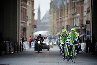 Gent-Wevelgem 2013.Peter Sagan (SVK) escorted through Ieper by teammate Maciej Bodnar (POL).