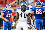 TCU Horned Frogs defensive end James McFarland (40) in action during the game between the TCU Horned Frogs and the SMU Mustangs at the Gerald J. Ford Stadium in Dallas, Texas.