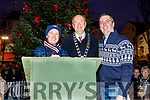 Brian McMahon, Cllr Jim Finucane (Mayor of Tralee) and MC Brian Hurley about to turn on the Christmas Tree lights in the Square on Saturday.