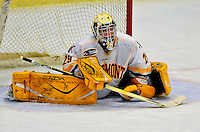 3 January 2009: University of Vermont Catamount goaltender Rob Madore, a Freshman from Venetia, PA, stretches at a time-out for the St. Lawrence Saints during the championship game of the Catamount Cup Ice Hockey Tournament hosted by UVM at Gutterson Fieldhouse in Burlington, Vermont. Madore recorded his first college career shut out against the Saints, leading the Cats to a 4-0 win and taking the tournament for the second time since its inception in 2005...Mandatory Photo Credit: Ed Wolfstein Photo