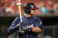 Gwinnett Braves catcher Christian Bethancourt (27) watches the pitcher while on deck during a game against the Buffalo Bisons on May 13, 2014 at Coca-Cola Field in Buffalo, New  York.  Gwinnett defeated Buffalo 3-2.  (Mike Janes/Four Seam Images)