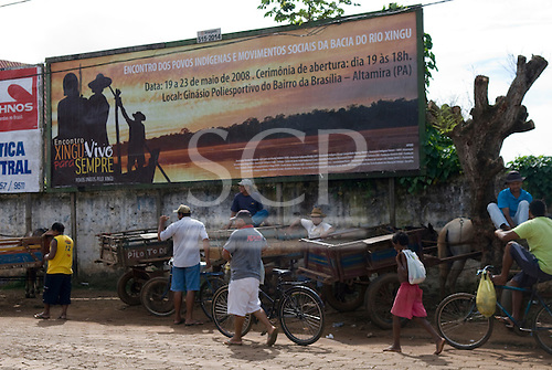 Altamira, Brazil. Frontier town on the Xingu river. Poster anouncing the Encontro Xingu protest meeting about the proposed Belo Monte hydroeletric dam and other dams on the Xingu river and its tributaries.