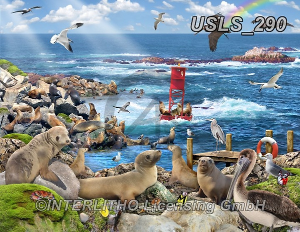Lori, LANDSCAPES, LANDSCHAFTEN, PAISAJES, paintings+++++Sea Lions Puzzle_10_72,USLS290,#l#, EVERYDAY ,puzzle,puzzles