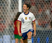 HOUSTON, TX - JUNE 10: Carli Lloyd #10 of the USWNT celebrates during a game between Portugal and USWNT at BBVA Stadium on June 10, 2021 in Houston, Texas.