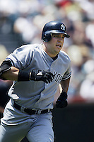 Nick Johnson of the New York Yankees runs the bases during a 2002 MLB season game against the Los Angeles Angels at Angel Stadium, in Anaheim, California. (Larry Goren/Four Seam Images)