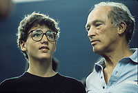 Montreal (QC) CANADA - 1987  File Photo  -  Justin Trudeau and his father Pierre<br /> <br /> <br /> Photo by Denis Alix - Agence Quebec Presse