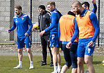 St Johnstone Training....30.04.21<br />Manager Callum Davidson pictured with David Wotherspoon and Liam Gordon during training at McDiarmid Park ahead of tomorrows game at Hibs.<br />Picture by Graeme Hart.<br />Copyright Perthshire Picture Agency<br />Tel: 01738 623350  Mobile: 07990 594431