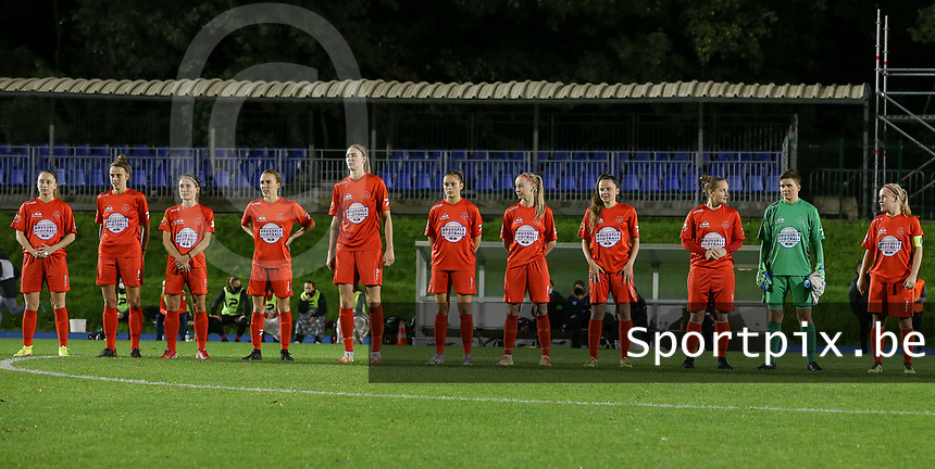 From left to right Woluwe's Estelle Peron, Sheila Broos, Stephanie Suenens, Selina Gijsbrechts, Marie Bougard, Kenza Vrithof, Magali Dinon, Anouck Cochez, Stefanie Deville, goalkeeper Hazel Engelen and Jana Simons pictured at the line up before a female soccer game between FC Femina WS Woluwe and Standard Femina de Liege on the fourth match day of the 2020 - 2021 season of Belgian Womens Super League , Friday 8th of October 2020  in Liege , Belgium . PHOTO SPORTPIX.BE | SPP | SEVIL OKTEM