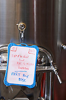 tank door sign on tank vin de pays ready to bottle rose chateau de nages rhone france