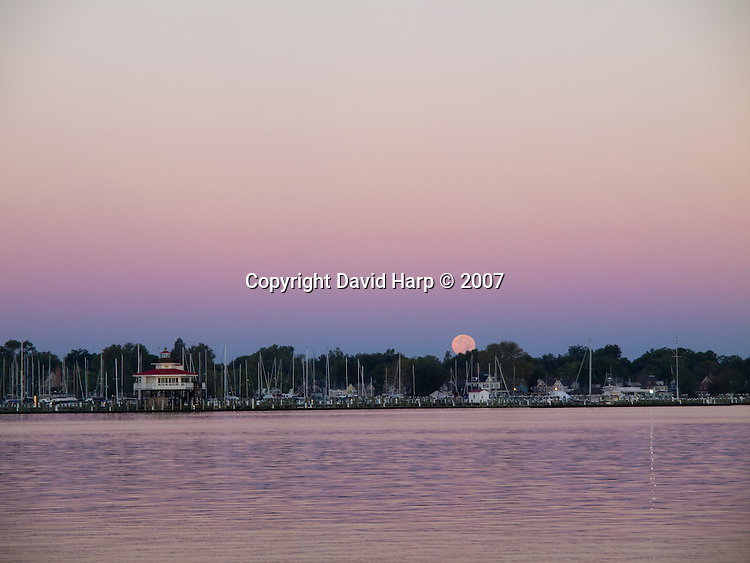 Moonset over the municipal marina in Cambridge, now filled with modern pleasure boats.