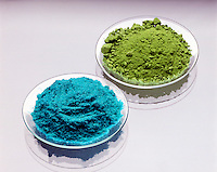 CUPRIC CHLORIDE (blue) & CUPROUS CHLORIDE (green)<br /> Copper Forms Two Compounds With Chlorine: Copper I Chloride (Cuprous -green) & Copper II Chloride (Cupric -blue)<br /> Cuprous chloride is a white crystal that converts to a green oxygenated compound.