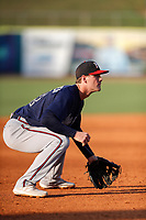 Mississippi Braves third baseman C.J. Alexander (24) on defense against the Tennessee Smokies at Smokies Stadium on July 15, 2021, in Kodak, Tennessee. (Danny Parker/Four Seam Images)