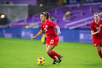 ORLANDO, FL - FEBRUARY 21: Sarah Stratigakas #10 of the CANWNT dribbles the ball during a game between Argentina and Canada at Exploria Stadium on February 21, 2021 in Orlando, Florida.