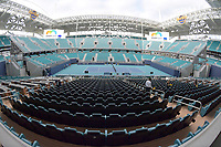 MIAMI GARDENS, FL - MARCH 15: Hard Rock Stadium prepares for the first Miami Open Tennis Tournament at Hard Rock Stadium on March 15, 2019 in Miami Gardens, Florida.<br /> <br /> People: Atmosphere