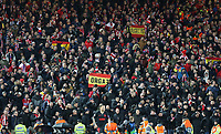 Atletico Madrid travelling fans watch the first half action<br /> <br /> Photographer Rich Linley/CameraSport<br /> <br /> UEFA Champions League Round of 16 Second Leg - Liverpool v Atletico Madrid - Wednesday 11th March 2020 - Anfield - Liverpool<br />  <br /> World Copyright © 2020 CameraSport. All rights reserved. 43 Linden Ave. Countesthorpe. Leicester. England. LE8 5PG - Tel: +44 (0) 116 277 4147 - admin@camerasport.com - www.camerasport.com