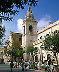 Italy, Sicily, Taormina:  Piazza IX. Aprile and church San Giuseppe