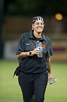 AZL Giants athletic trainer Charlene Wichman walks back to the dugout during a game against the AZL Cubs on September 5, 2017 at Scottsdale Stadium in Scottsdale, Arizona. AZL Cubs defeated the AZL Giants 10-4 to take a 1-0 lead in the Arizona League Championship Series. (Zachary Lucy/Four Seam Images)