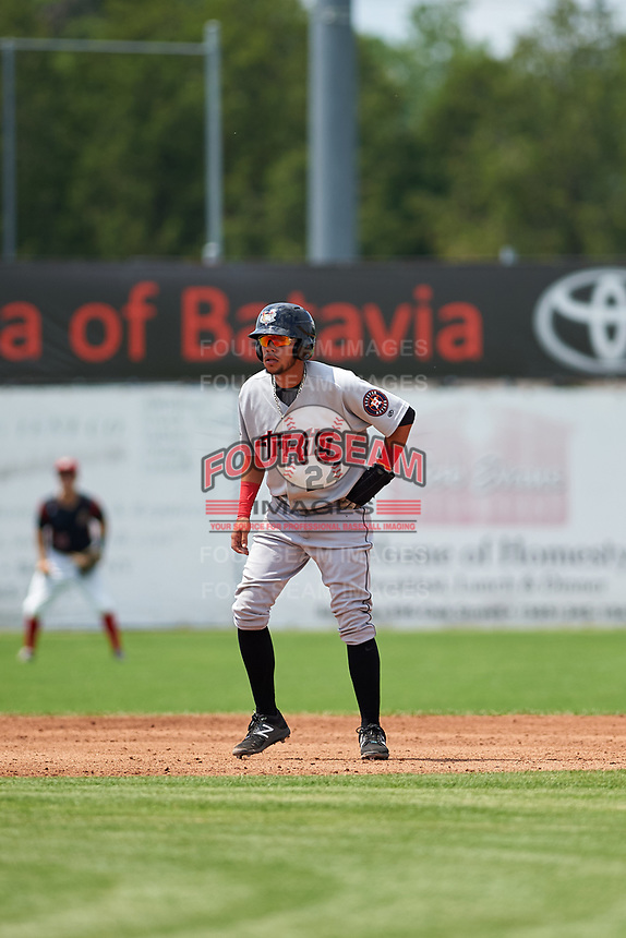 Tri-City ValleyCats third baseman Kristian Trompiz (24) leads off second base during a game against the Batavia Muckdogs on July 16, 2017 at Dwyer Stadium in Batavia, New York.  Tri-City defeated Batavia 13-8.  (Mike Janes/Four Seam Images)