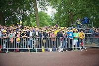 yellow fans at the podium<br /> <br /> 2014 Tour de France<br /> stage 3: Camebridge-London (155km)