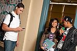 High school students in corridor between classes
