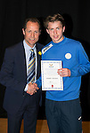 St Johnstone FC Academy Awards Night...06.04.15  Perth Concert Hall<br /> Alec Cleland presents a certificate to Joseph Johnson<br /> Picture by Graeme Hart.<br /> Copyright Perthshire Picture Agency<br /> Tel: 01738 623350  Mobile: 07990 594431