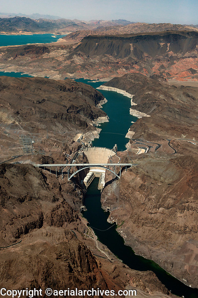 aerial photograph of the Hoover Dam and drought conditions at Lake Mead, Nevada