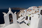 Oia with Church Bell Tower and Aegean Sea