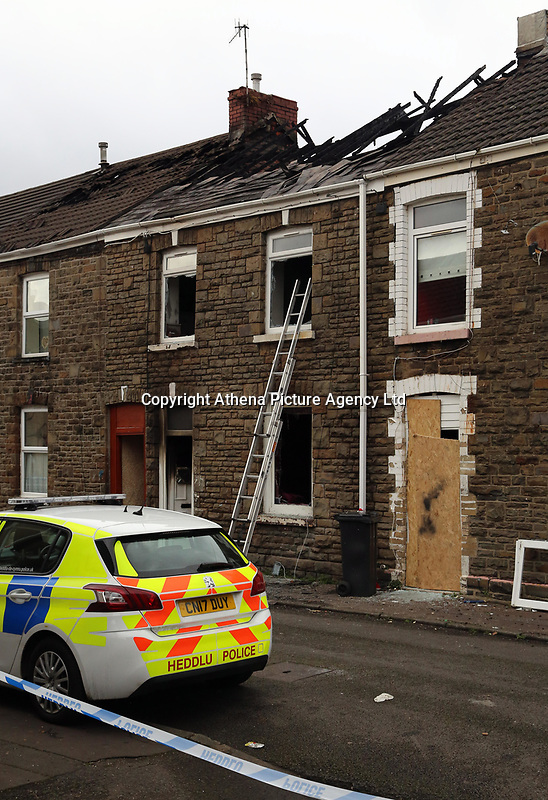 Pictured: The house that burned on Bonfire Night in Lombard Street, Neath, Wales, UK<br />Re: A blaze which destroyed a house in Neath is being investigated.<br />Eight fire crews tackled the blaze in Lombard Street, Neath, to tackle the fire on Sunday at 5:30pm.<br />The occupants and neighbours, were evacuated by South Wales Police.<br />Mid and West Wales Fire and Rescue Service said its investigation would take place on Monday.