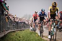 Gianni Moscon (ITA/SKY) in the first passage up the Oude Kwaremont<br /> <br /> 103rd Ronde van Vlaanderen 2019<br /> One day race from Antwerp to Oudenaarde (BEL/270km)<br /> <br /> ©kramon