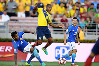 Action photo during the match Brazil vs Ecuador, Corresponding Group -B- America Cup Centenary 2016, at Rose Bowl Stadium<br /> <br /> Foto de accion durante el partido Brasil vs Ecuador, Correspondiante al Grupo -B-  de la Copa America Centenario USA 2016 en el Estadio Rose Bowl, en la foto: (i-d) Gil de Brasil, Antonio Valencia de Ecuador y Philippe Coutinho de Brasil<br /> <br /> <br /> 04/06/2016/MEXSPORT/Omar Martinez.