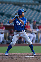 Kansas City Royals left fielder Marten Gasparini (12) at bat during an Instructional League game against the Arizona Diamondbacks at Chase Field on October 14, 2017 in Scottsdale, Arizona. (Zachary Lucy/Four Seam Images)