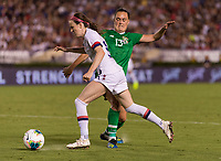 PASADENA, CA - AUGUST 4: Rose Lavelle #16 moves past Jess Gargan #13 during a game between Ireland and USWNT at Rose Bowl on August 3, 2019 in Pasadena, California.